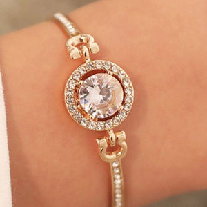 New Rhinestone HALO Bracelet Bangle Gold Plated